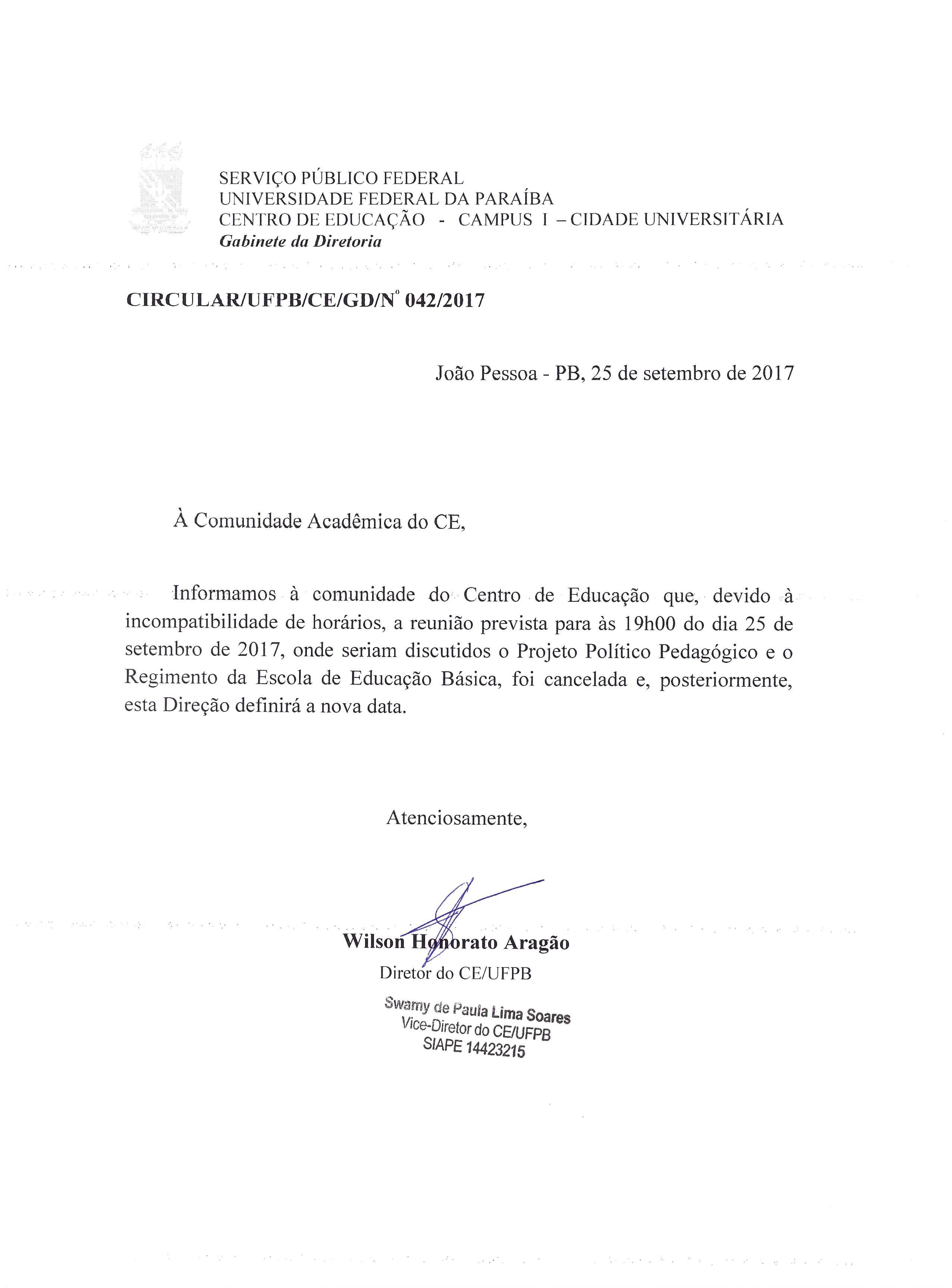 Cancelamento da Reunião