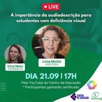 Live sobre audiodescrição marca Dia de Luta da Pessoa com Deficiência